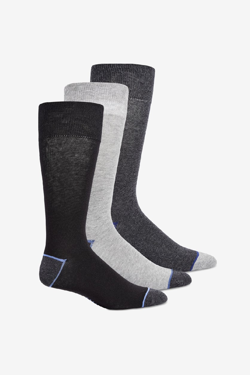 Men's 3-Pack Solid Crew Socks, Black/Grey/Light Grey