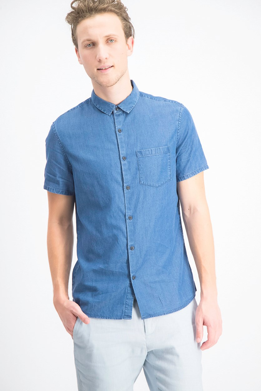 Men's Slim Fit Short Sleeve Shirt, Denim