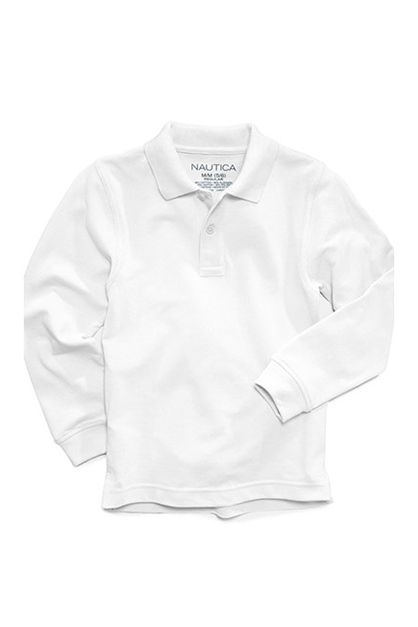 Nautica Little Boys' Long-Sleeve Uniform Polo, White