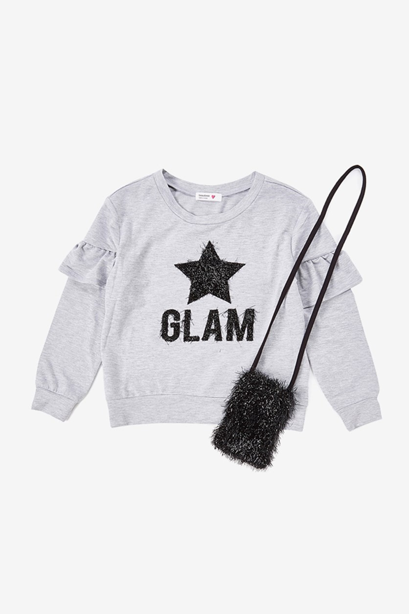 Kids Girl's Glam With Phone Pouch Top, Gray
