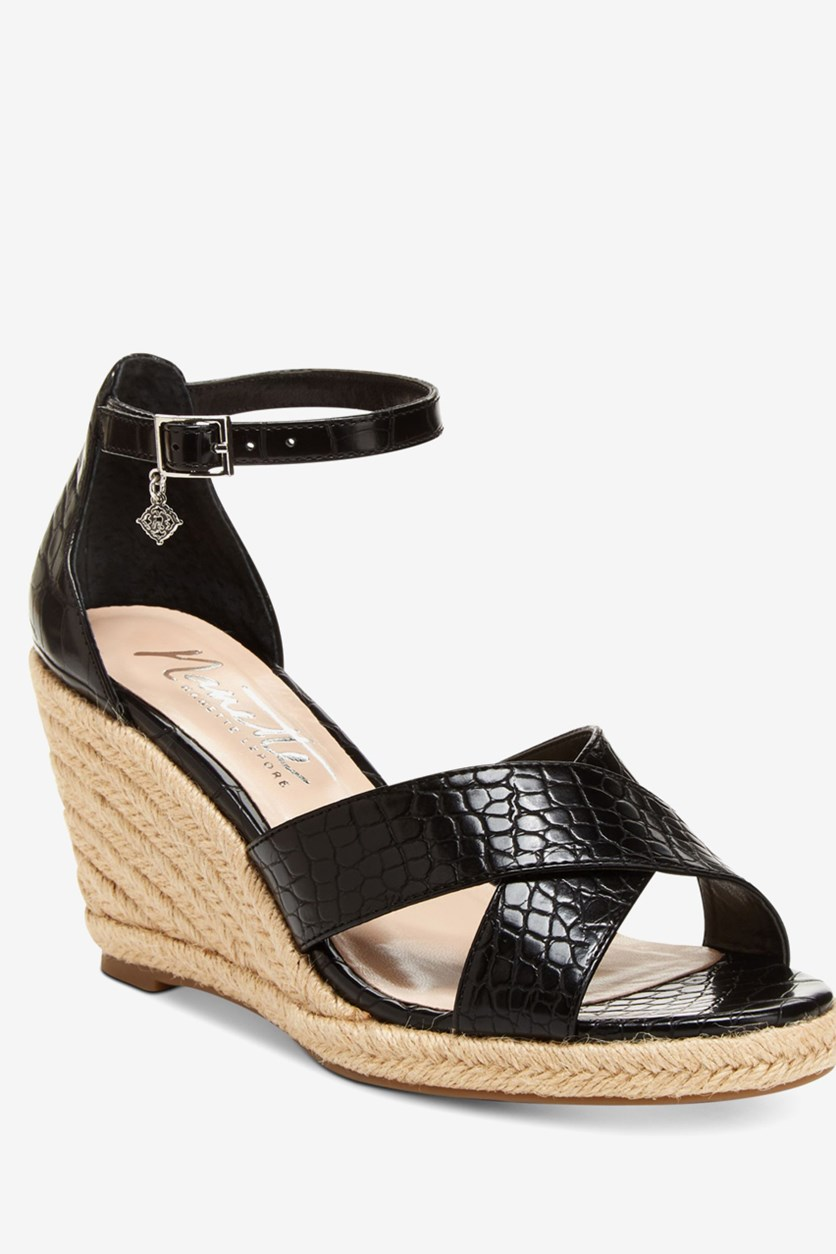 Women's Quirky Wedge Sandals, Black