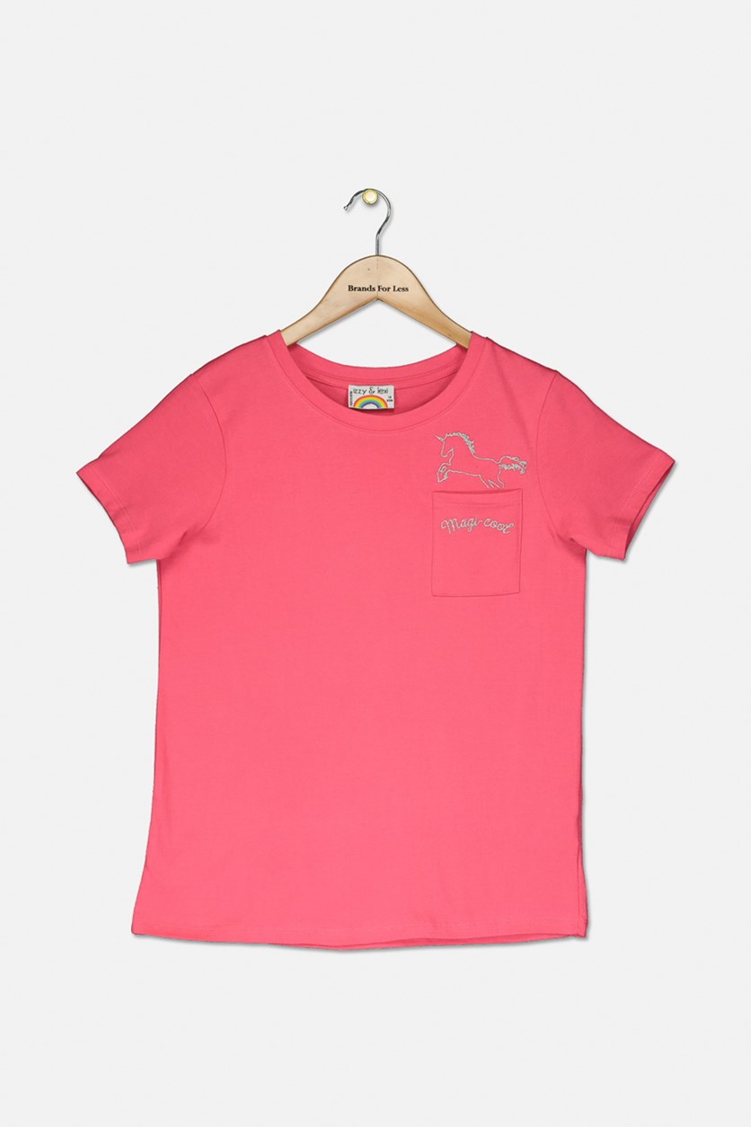 Big Girl's Graphic Tee, Fuchsia