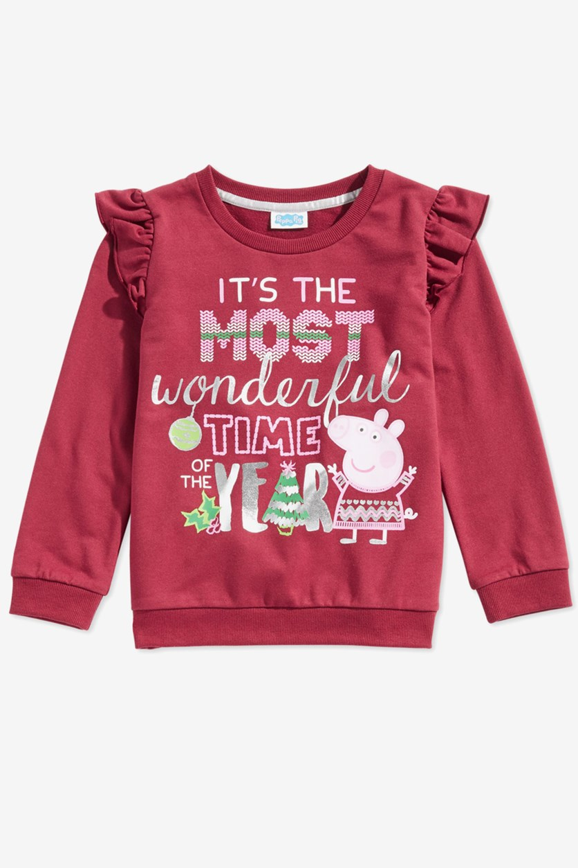 Baby Girls Pullover Graphic Tops, Maroon