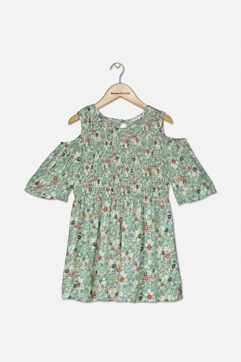 Girl's Foral Print Tops, Green Combo