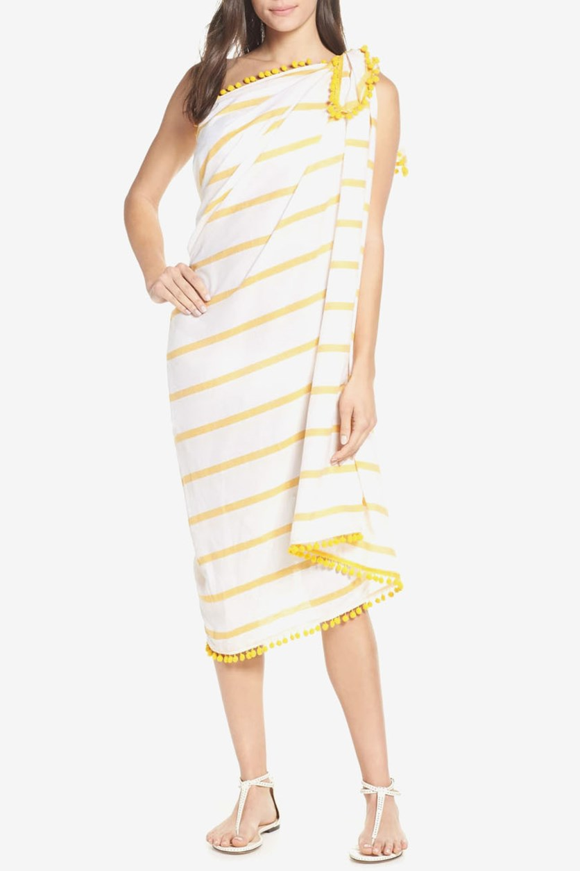Women's Striped Sarong Swim Cover-up, Amber