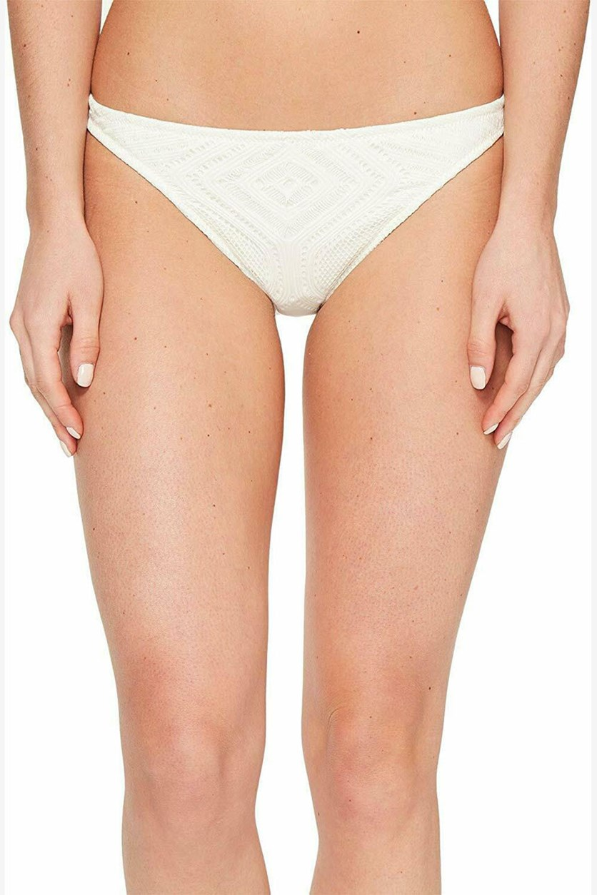 Women's Crochet Hipster Swim Bottom, Cream
