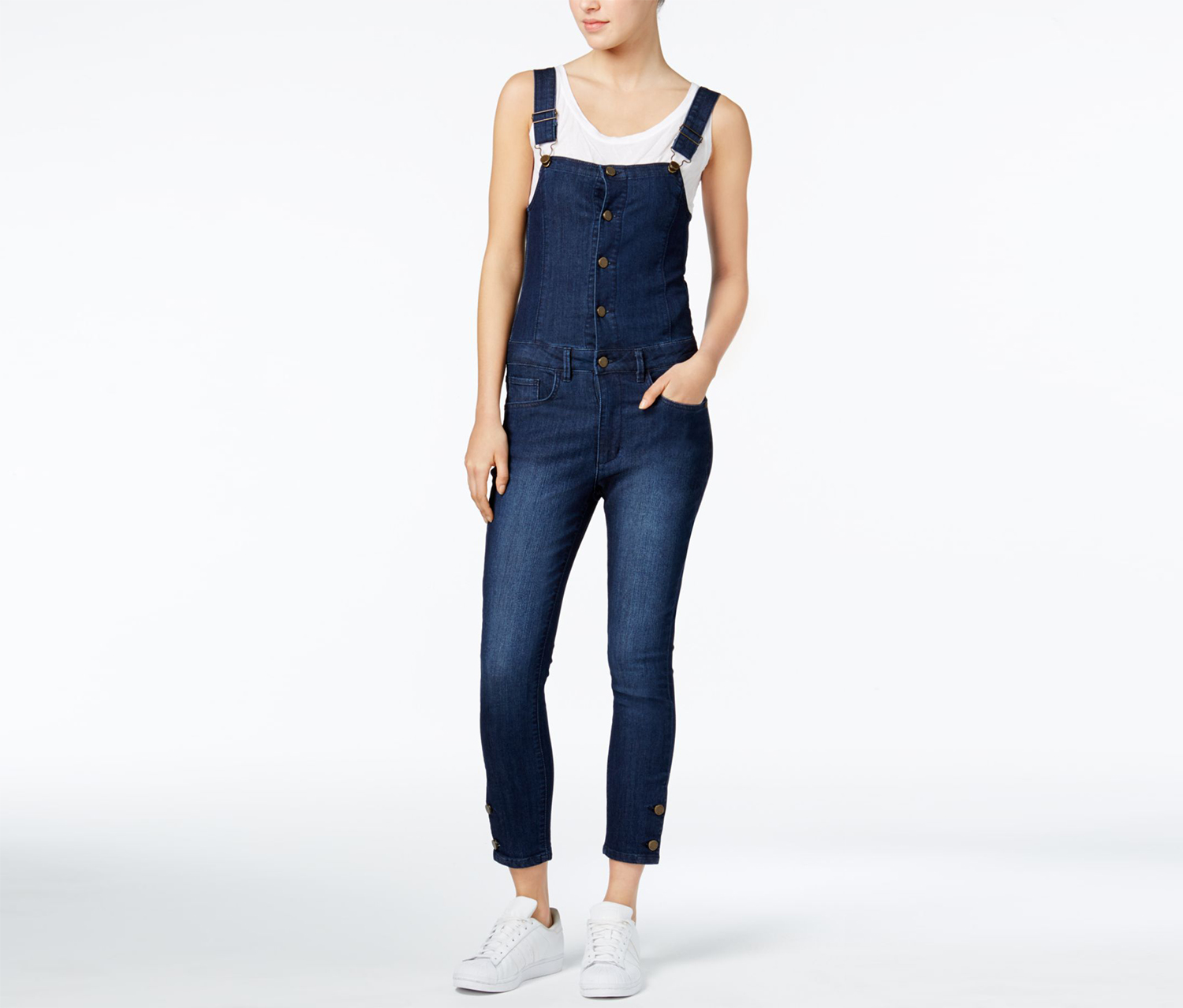 Women's Cropped Denim Overalls, Ultramarine Wash