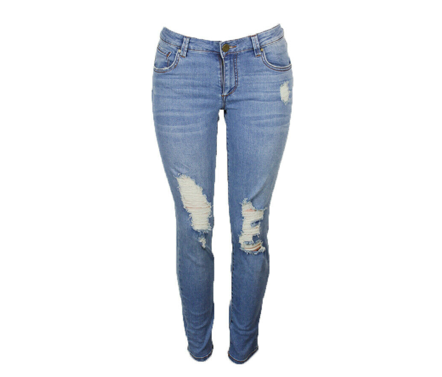 Women's Ripped Straight Leg Girlfriend Jeans, Blue