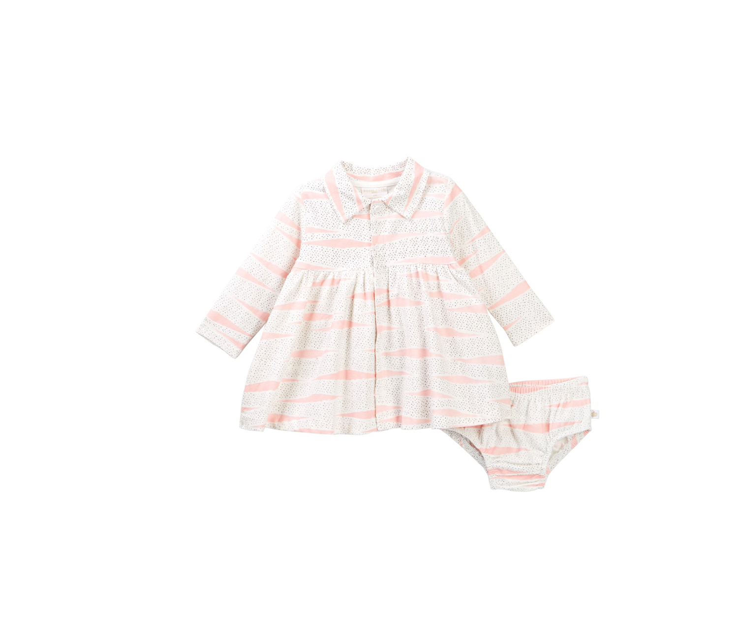 Toddlers Girl's Flannel Dress with Panty, White/Pink