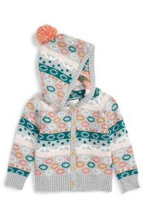 Infant Girl's Intarsia Hooded Cardigan, Gray/Green