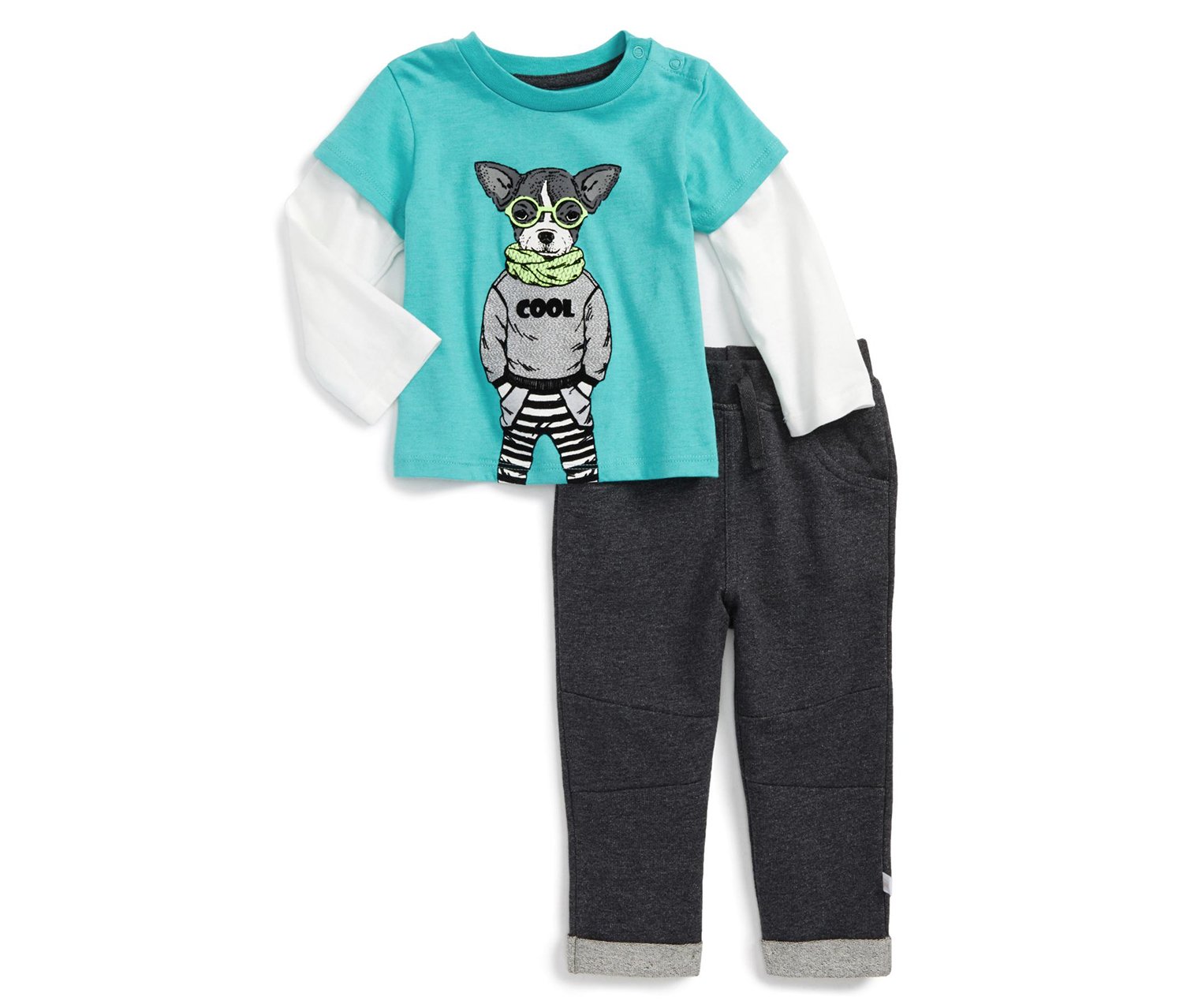 Baby Rose Nerdy Layered Shirt & Sweatpants Set, Blue/Gray