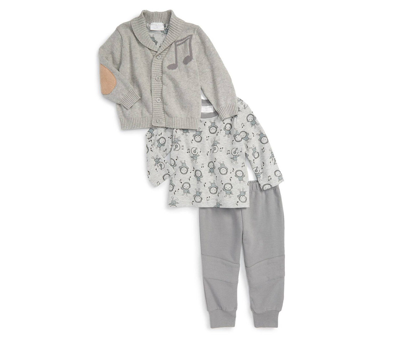 Toddler Boy's Music Cardigan T-Shirt & Pants Set, Gray