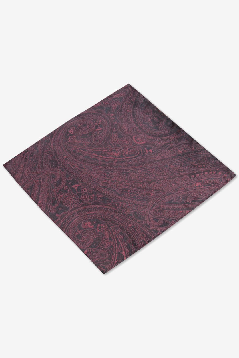 Mens Silk Paisley Pocket Square, Maroon