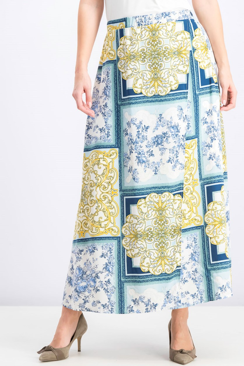 Women's Allover Printed Maxi Skirt, Blue Combo