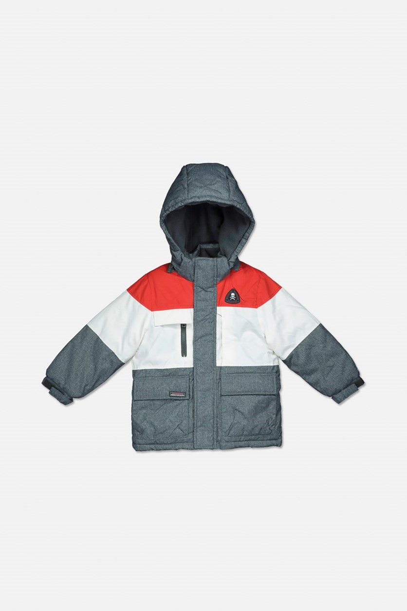 Boy's Hooded Winter Jacket, Red Combo
