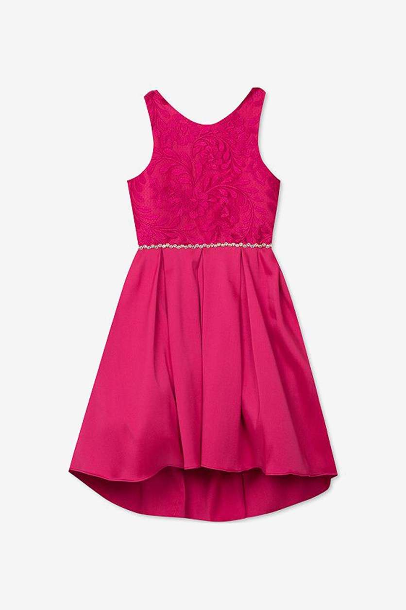 Big Girls Embroidered Mikado Dress, Fuchsia