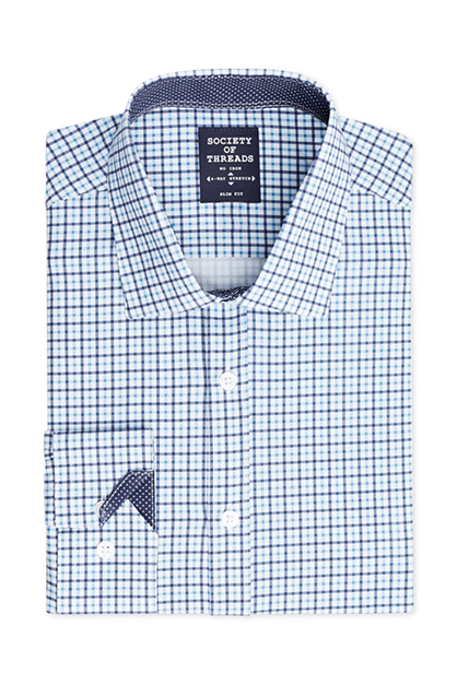 Men's Slim-Fit Performance Stretch Small Check Dress Shirt, Blue