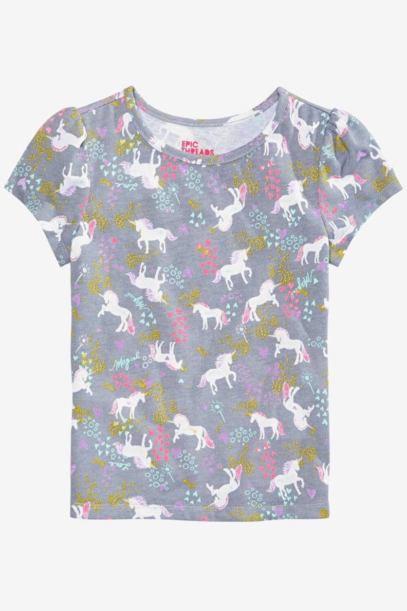 Toddler Girls Unicorn T-Shirt, Grey