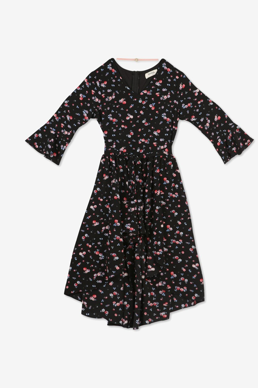 Girls Pullover Floral Dress, Black/Red/Blue
