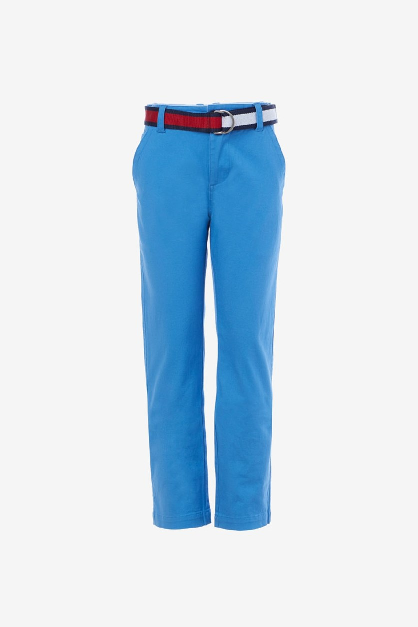Toddler Boys Belted Twill Pants, Pacific Coast Blue
