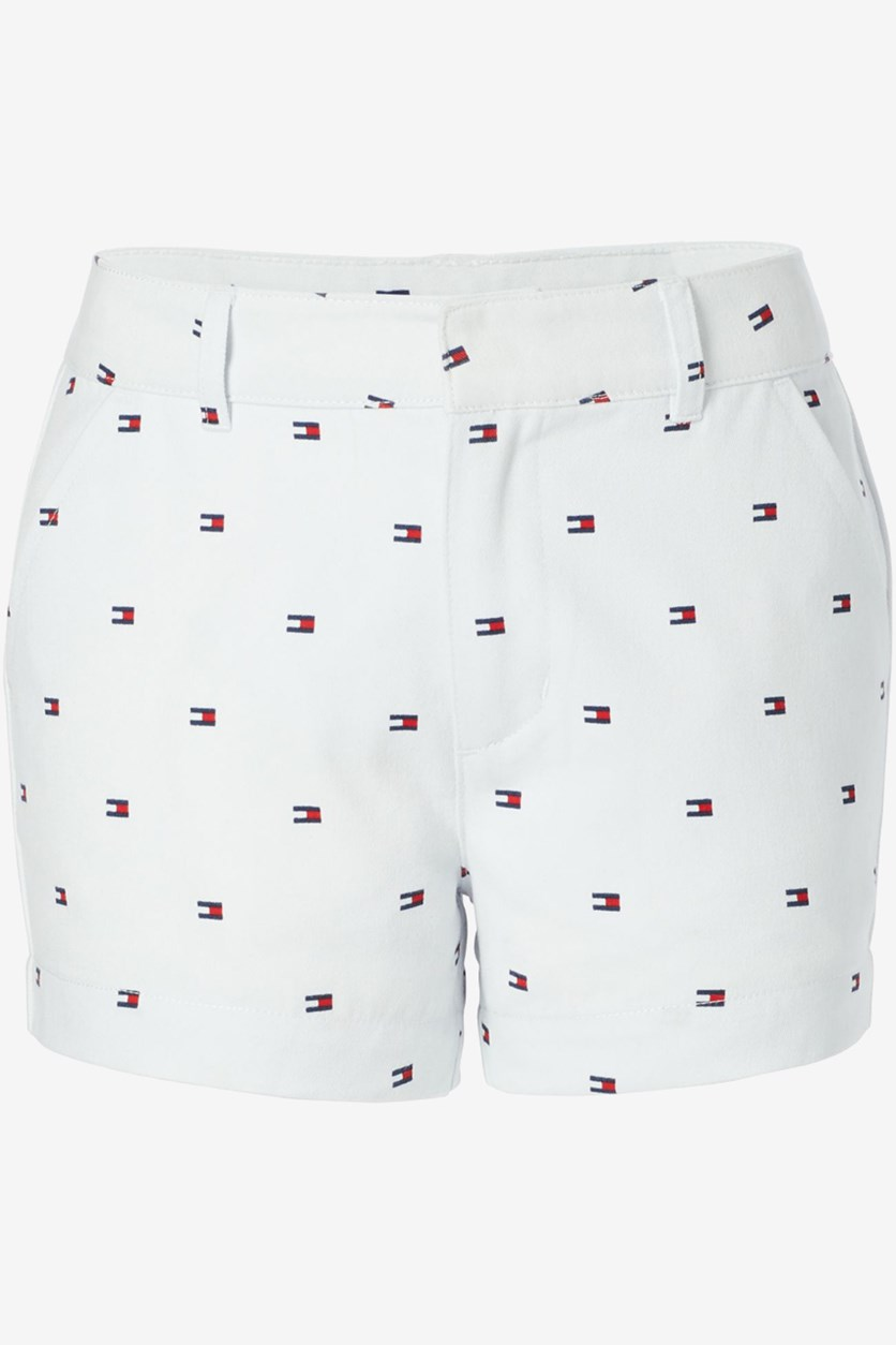 Big Girls Logo-Print Stretch Twill Shorts, White