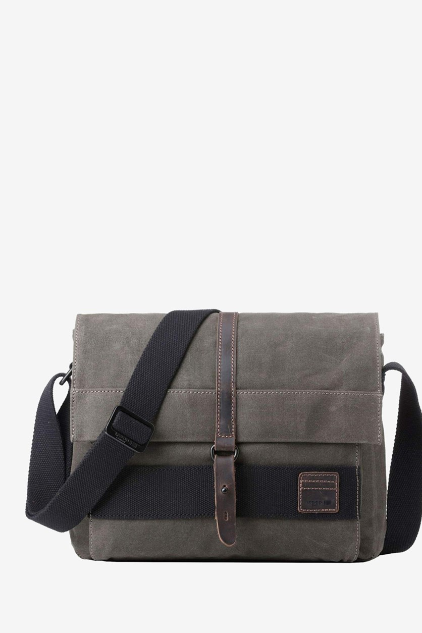 Men's Canvas Leather Messenger Bag, Olive