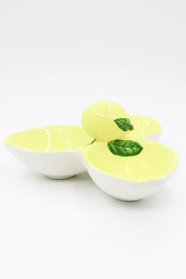 Lemon Ceramic Triple Dish, Yellow