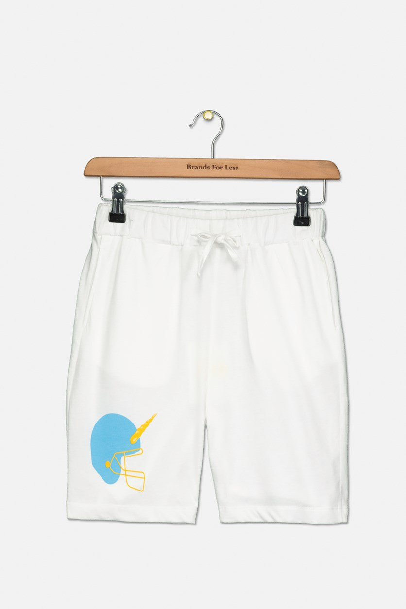 Toddler Boy's Graphic Pull-On Shorts, White