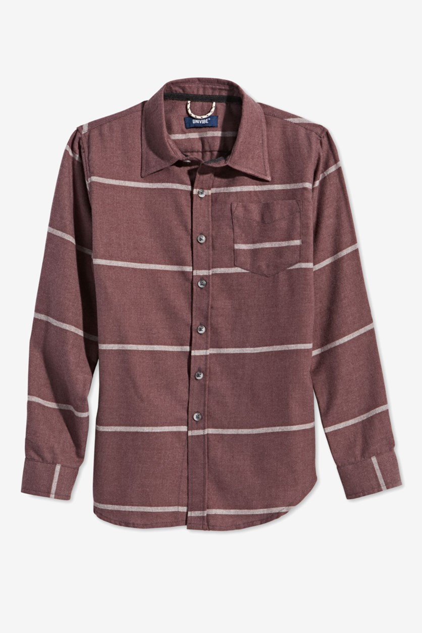 Big Boys Striped Collared Shirt, Deep Burgundy