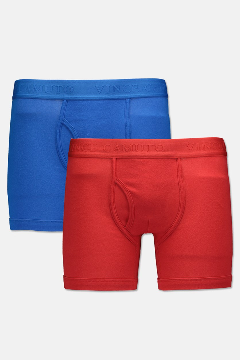 Men's Pure Cotton 3 Piece Boxer Briefs, Red/Blue/White