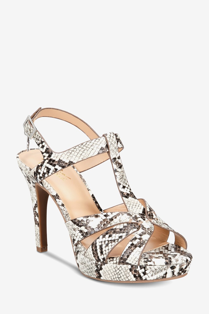 Women's Platform Dress Sandals, Natural Snake