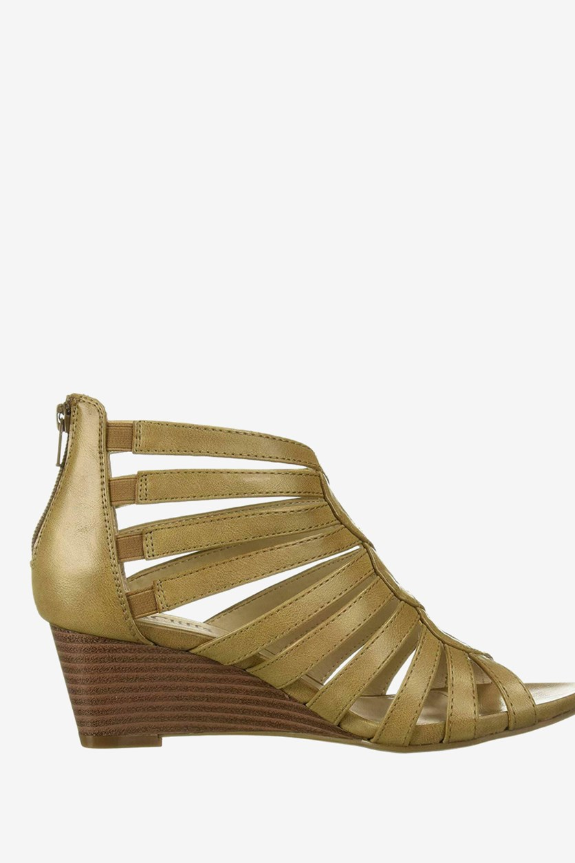 Women's Victoria Strappy Wedge Sandals, Stone Burnished