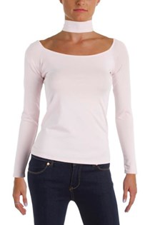 Women's Pullover Scoop Neck Choker Top, Pale Lilac