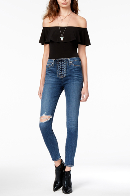 Women's Lace-Up Ripped Skinny Jeans, Blue