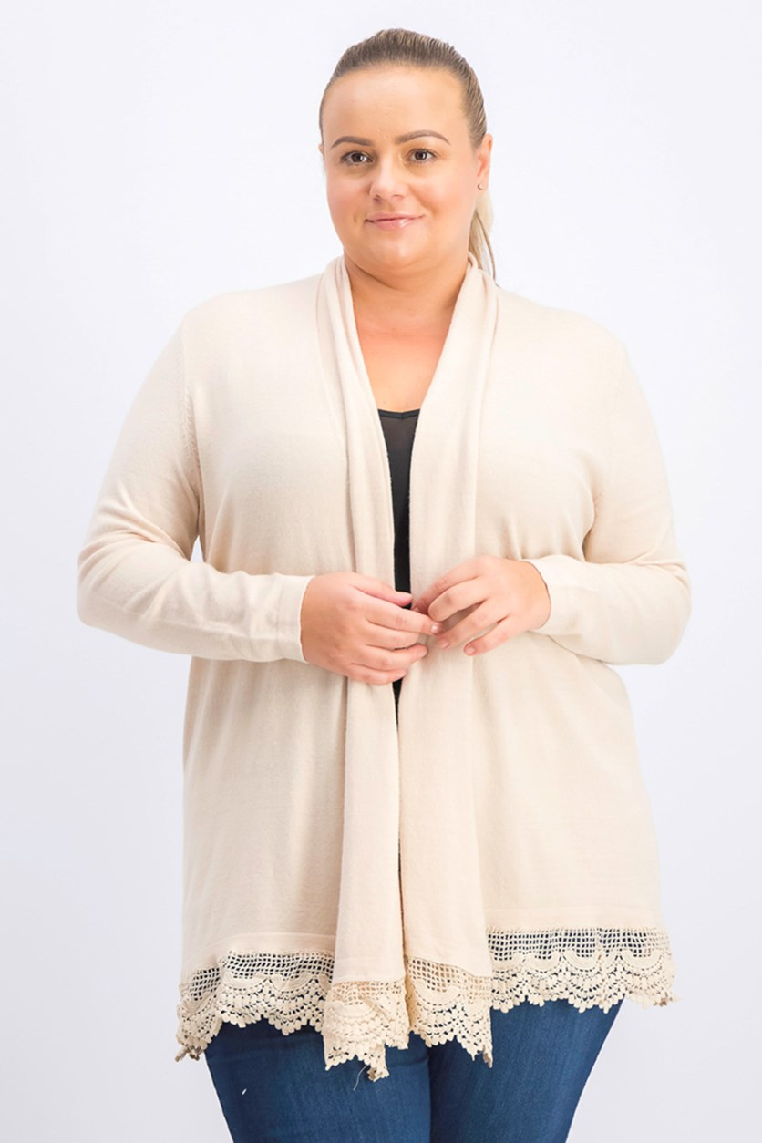 Women's Plus Size Open Front Cardigan, Beige