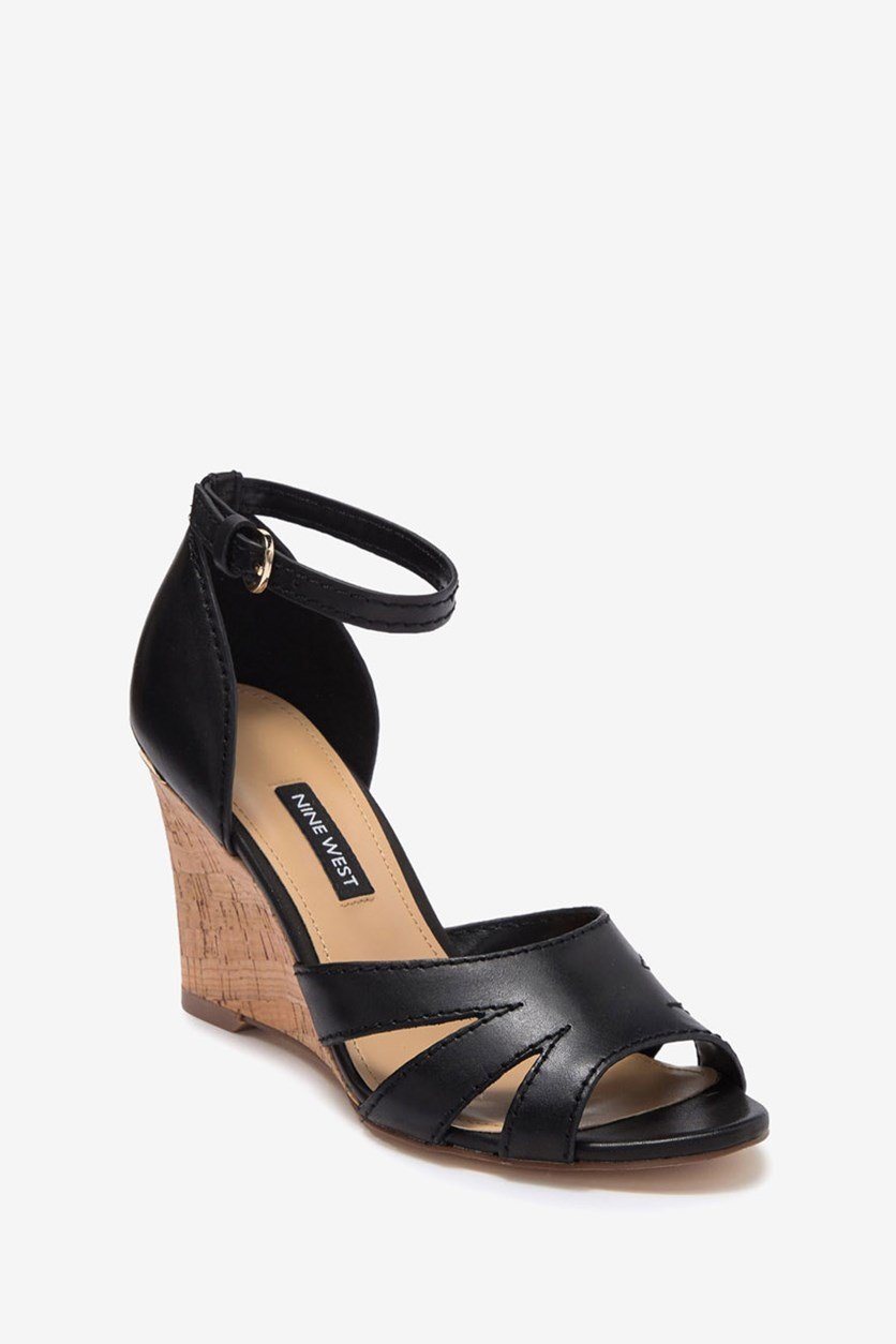 Women's Lilly Ankle Strap Wedge Sandal, Black