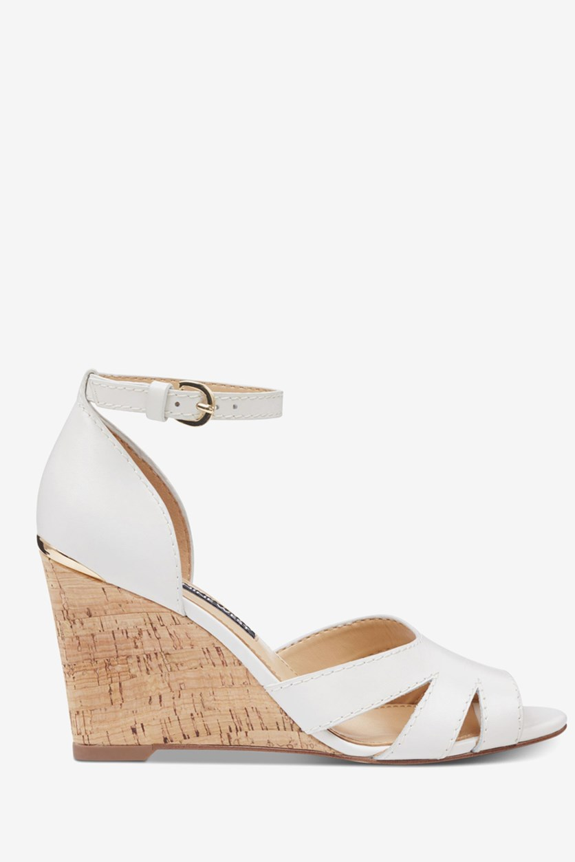 Women's Lilly Ankle Strap Wedge Sandal, White Leather