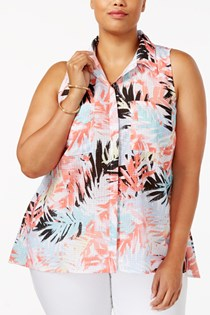 Women's Plus Size Floral Print Cap Sleeves Blouse, Multi Rattan
