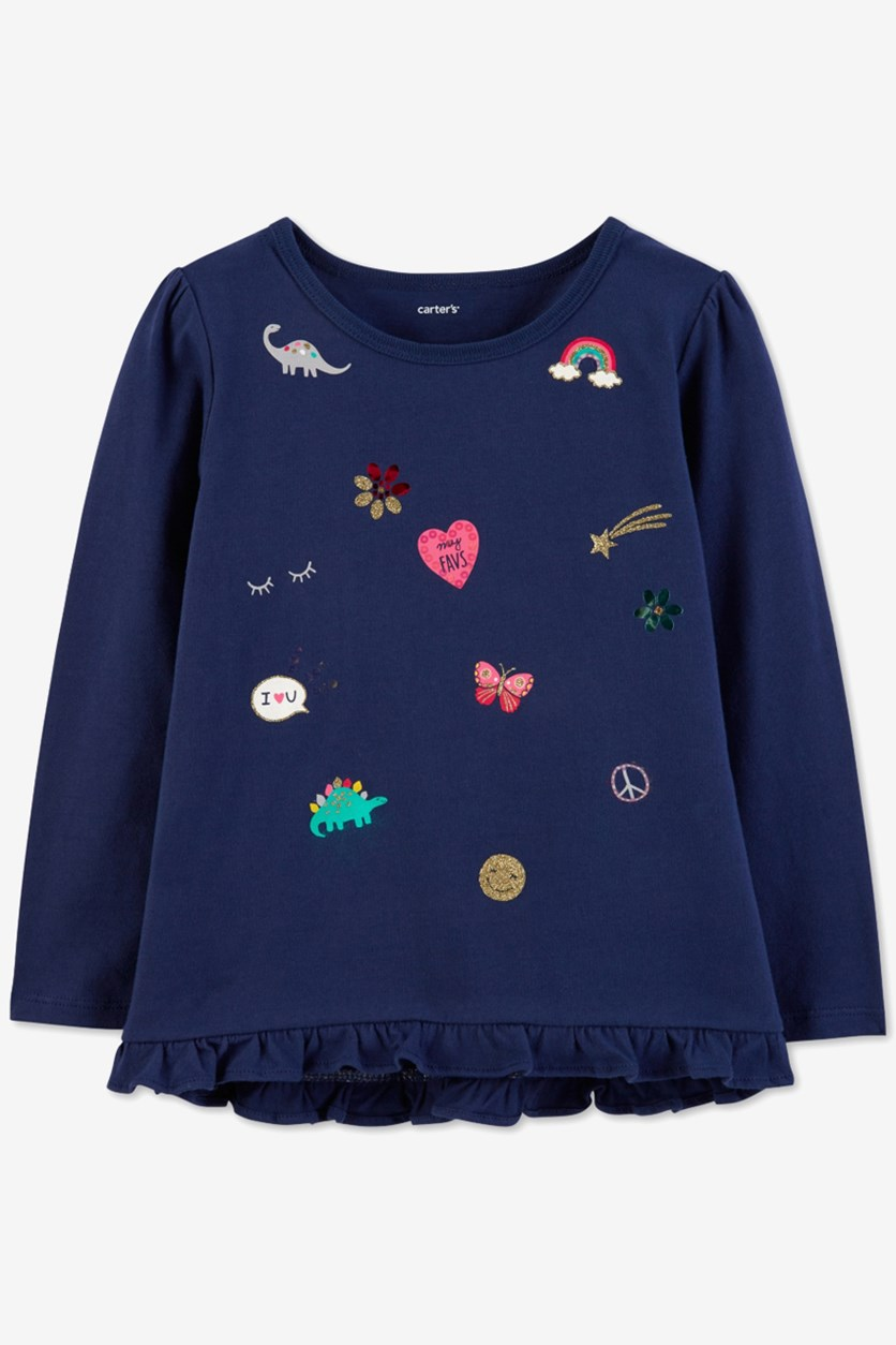 Kids Girls Graphic-Print Cotton T-Shirt, Navy