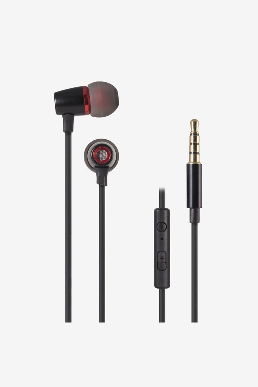 Stereo Earbuds With Microphone & Volume Control, Black/Pink