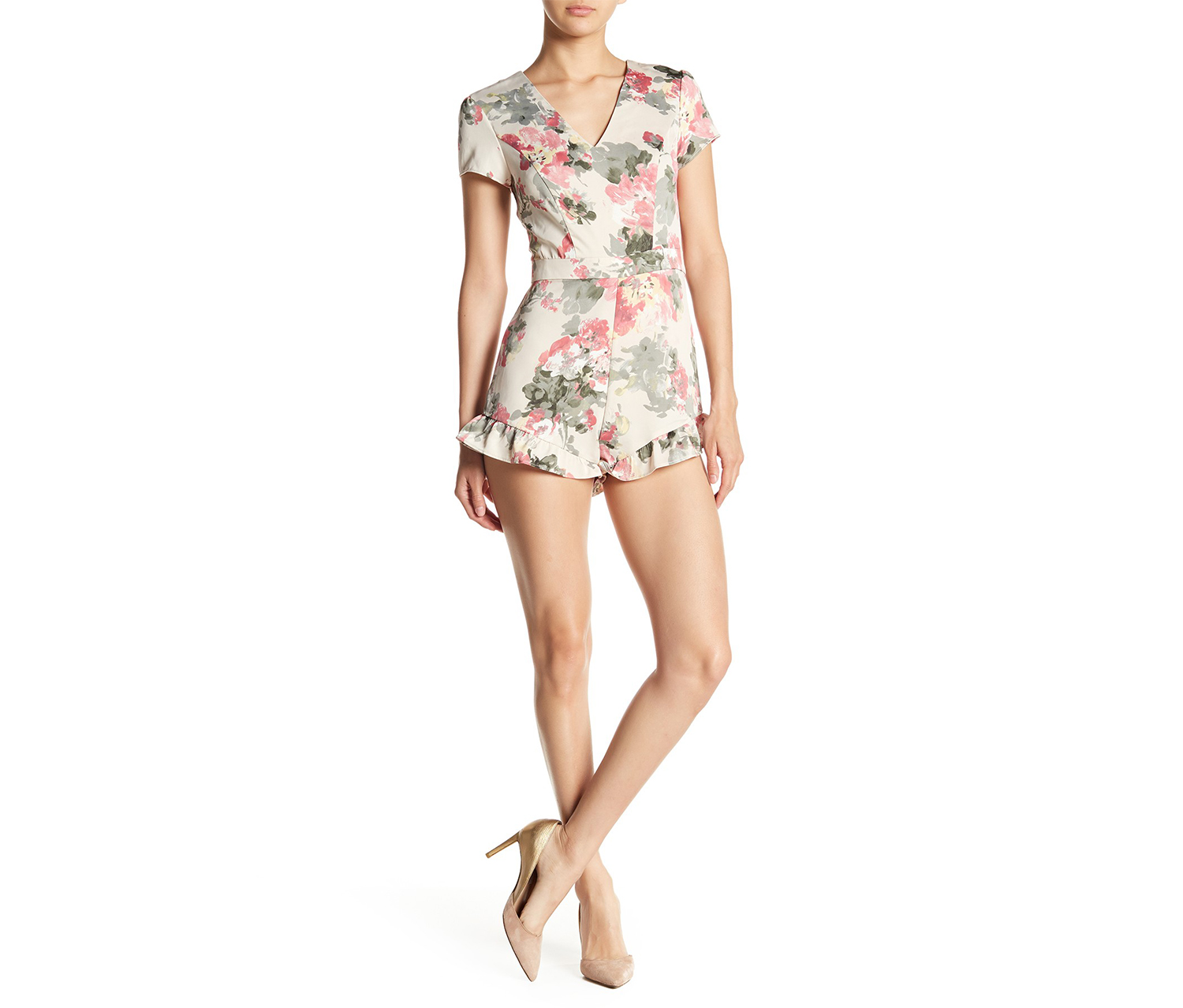 Women's V-Neck Ruffle Romper, Sheer Dream