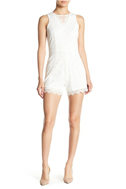 Women's Lace Romper, White