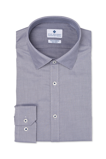 Men's Slim-Fit Button Up Dress Shirt, Silver