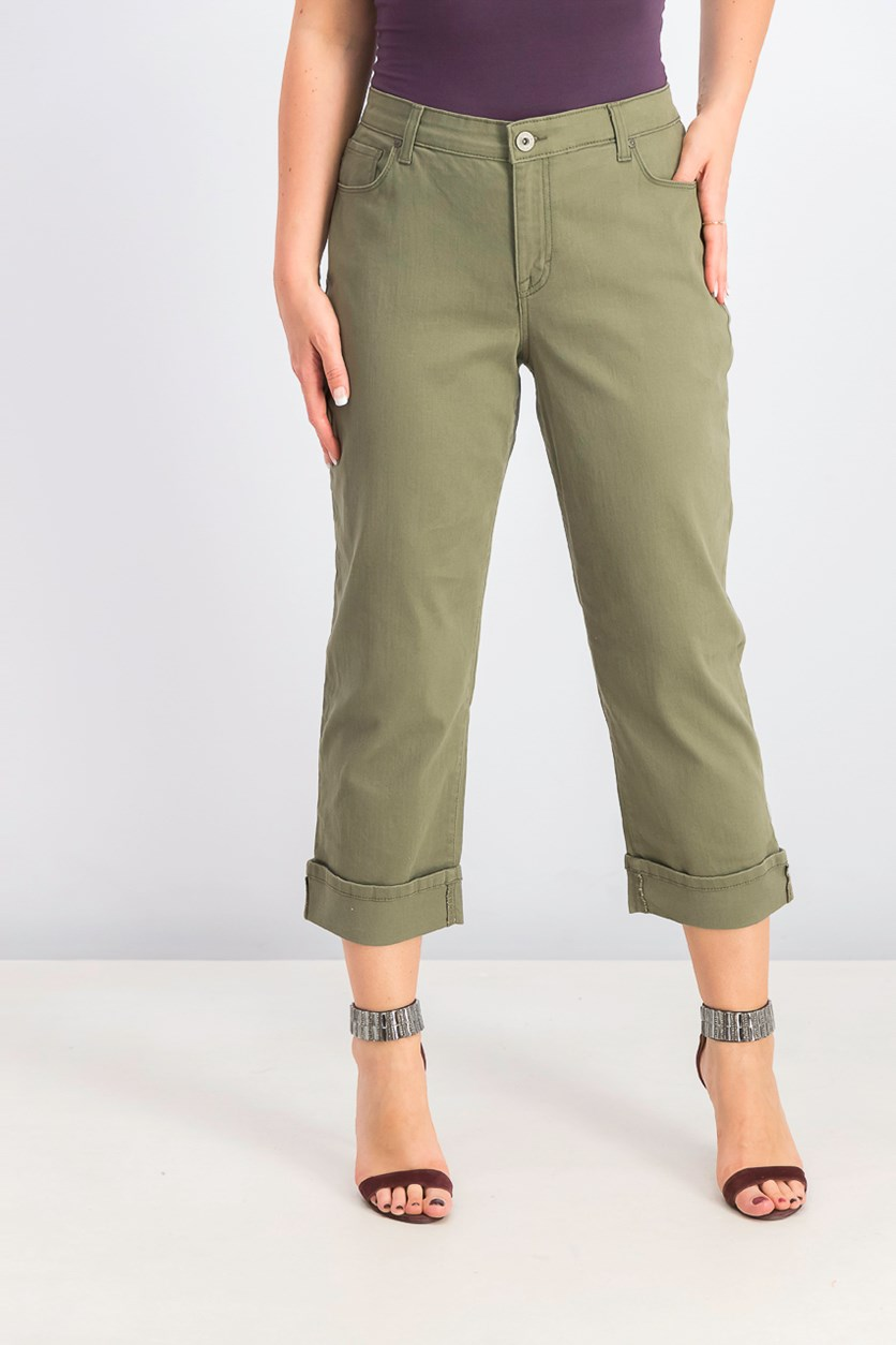 Women's Cuffed French Birch Wash Jeans, Olive Spring
