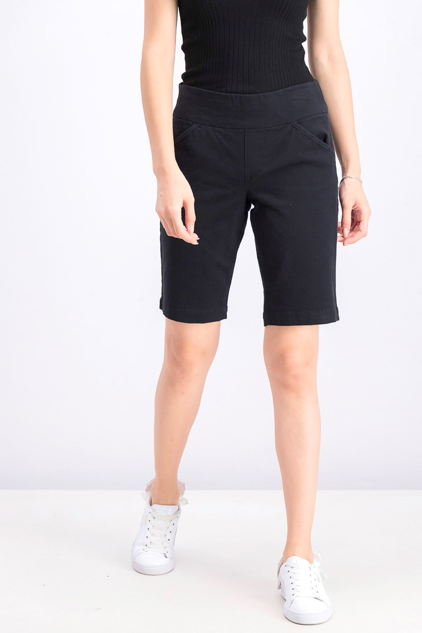 Women's Petite Pull-on Comfort-Fit Bermuda Shorts, Deep Black