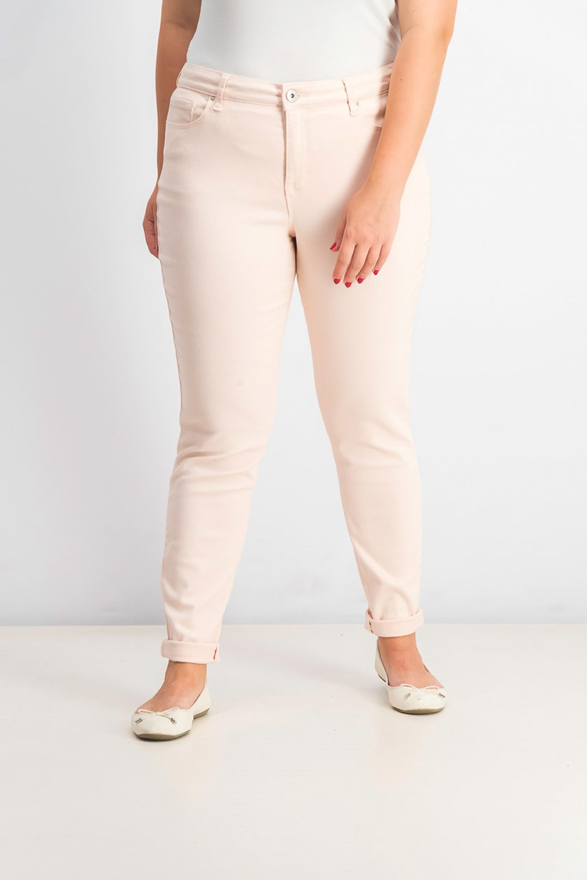 Women Curvy-Fit Skinny Fashion Jeans, Pink Bliss