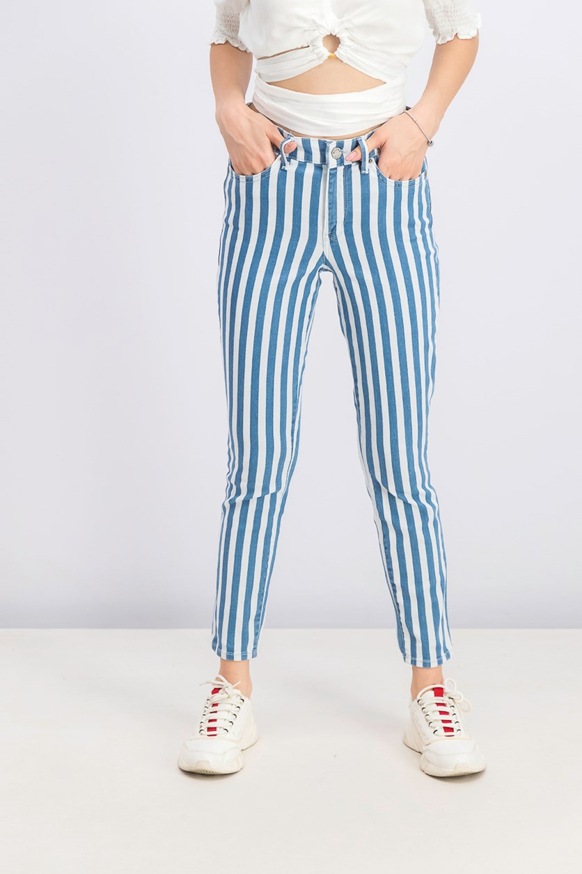 Women's Striped Cropped Skinny Jeans, White/Blue