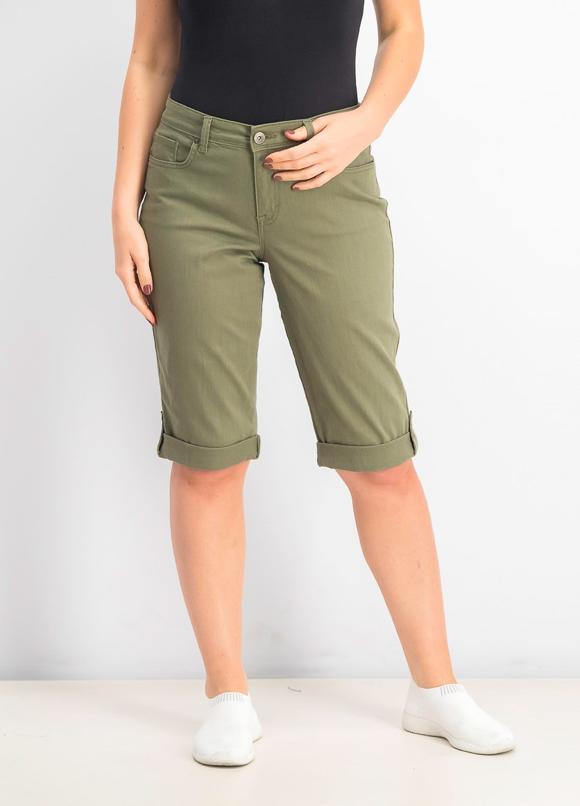 Women's Cuffed Denim Skimmer Shorts, Olive Spring