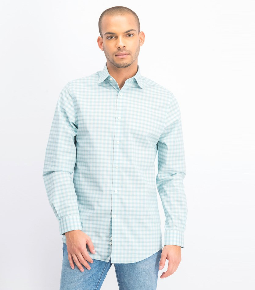 Men's Regular Fit Check Dress Shirt, Green/Gray