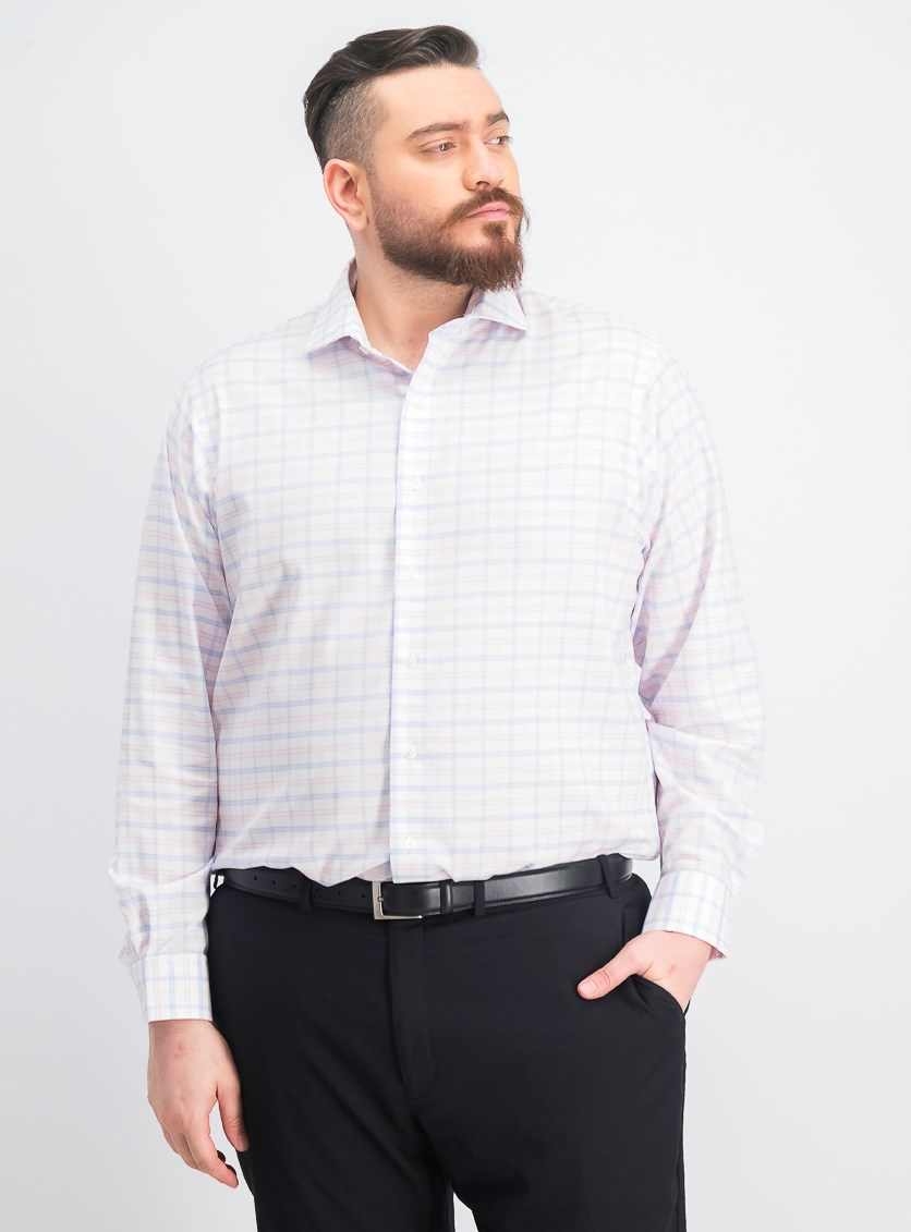 Men's Big & Tall Slim-Fit Check Dress Shirt, Pink Combo